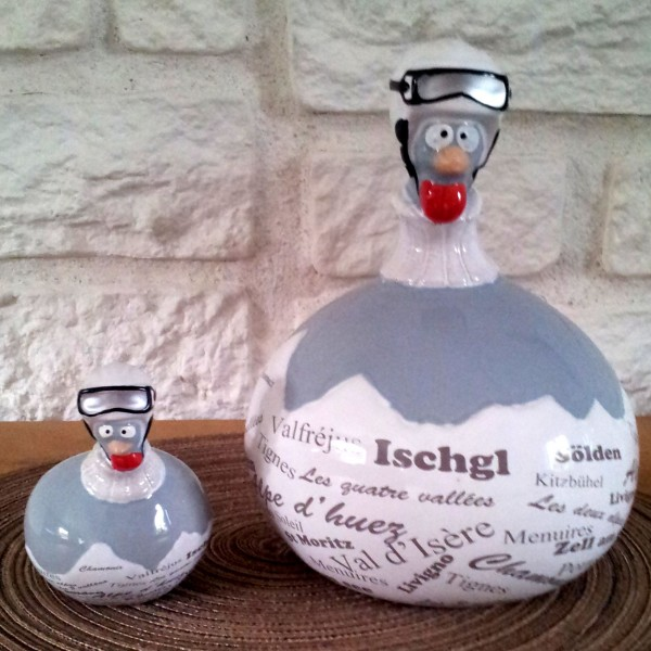 Duo poules en ceramique ski for Poules decoration