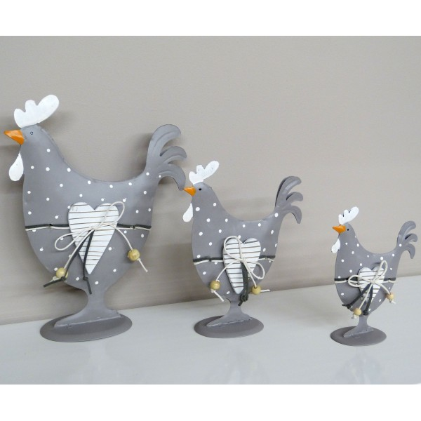 Ensemble 3 poules decoratives en metal grises a pois blancs for Poules decoration