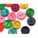 25 boutons en bois ronds - 15 mm multicolores T14